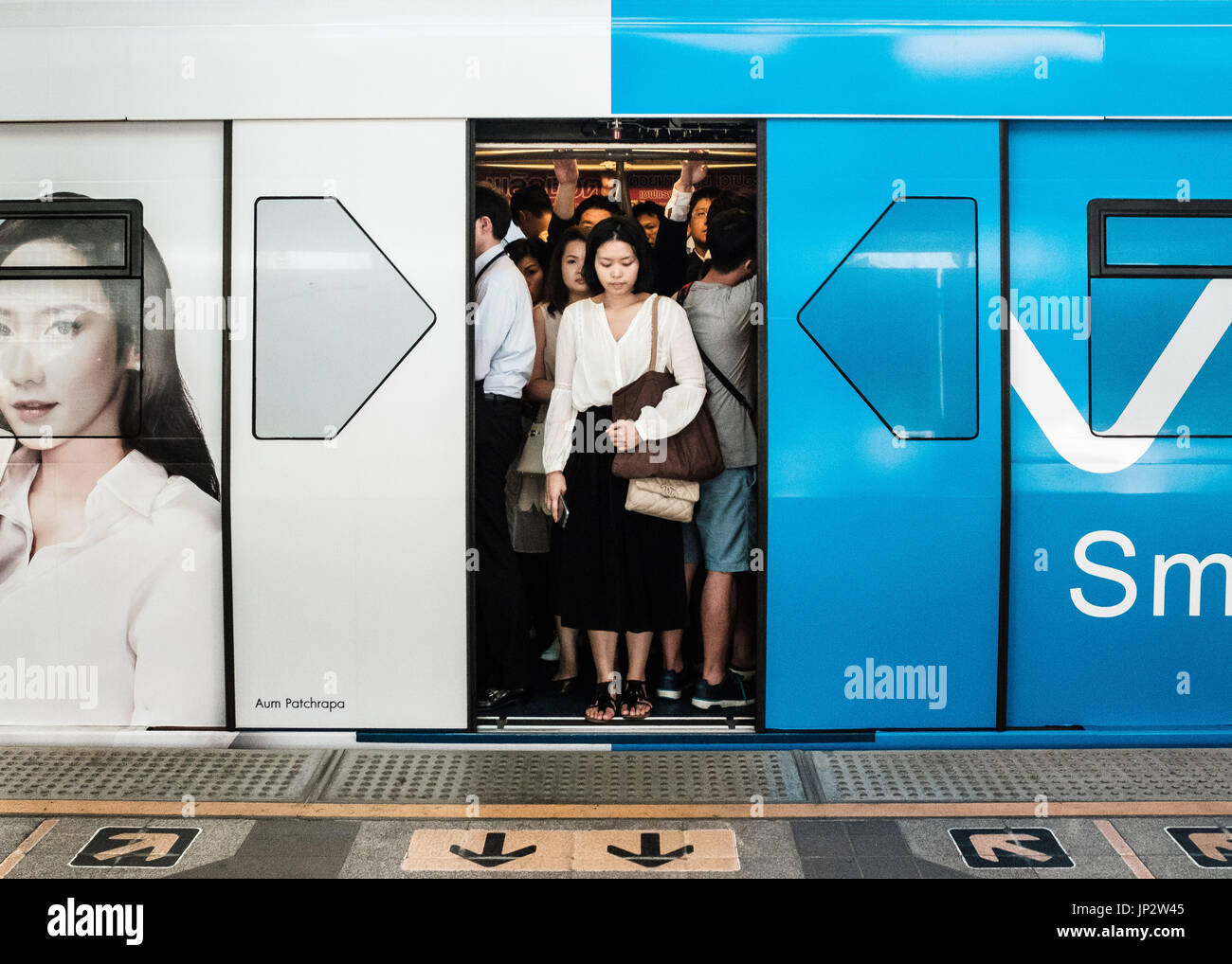 Doors are closing on skytrain (BTS) in Bangkok. - Stock Image
