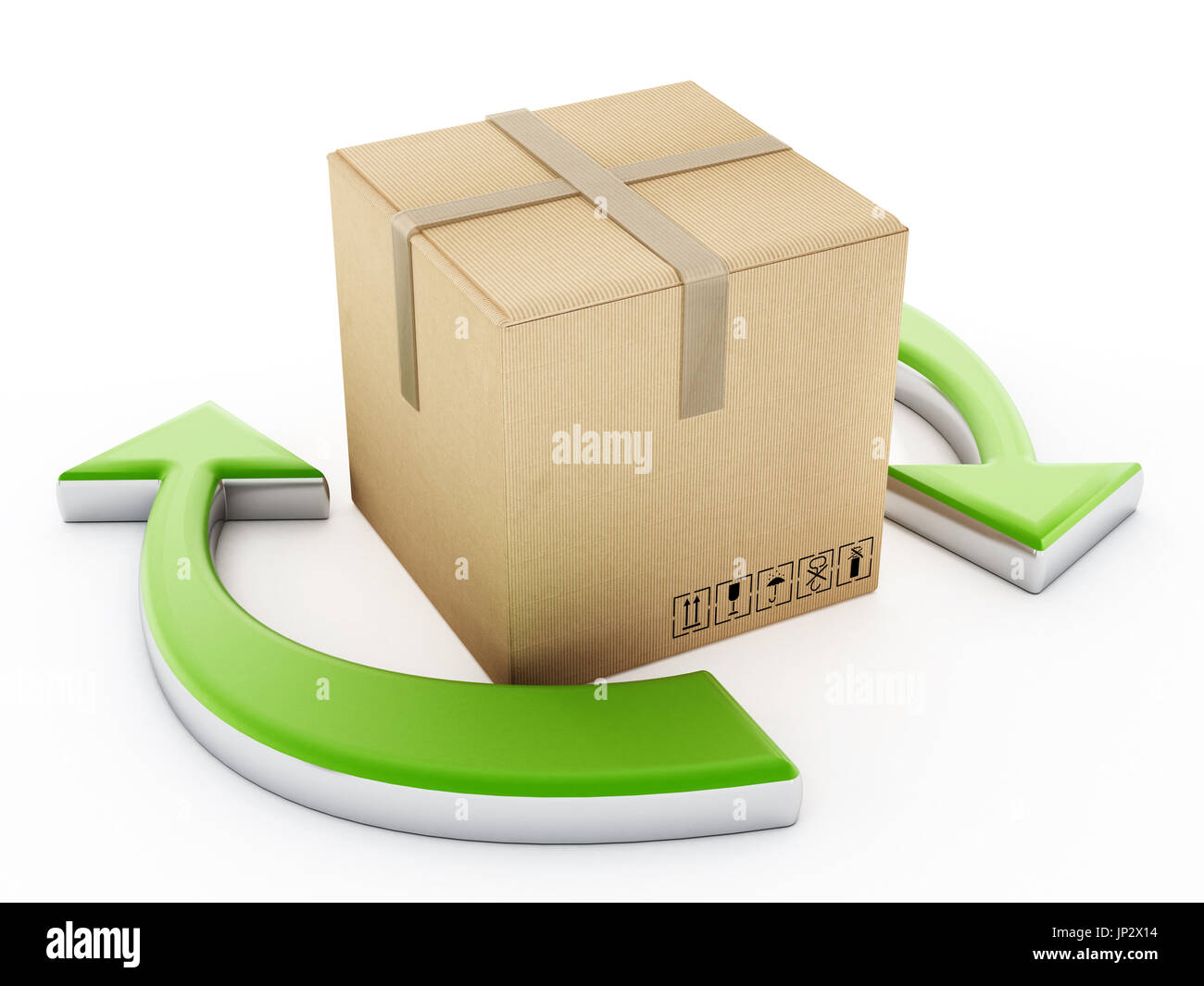 Cardboard box standing among the recycle arrows. 3D illustration. - Stock Image