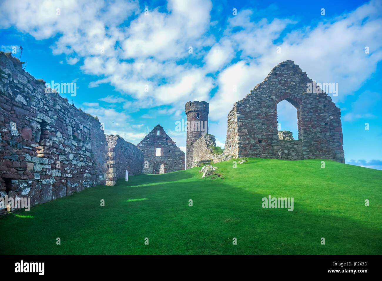 Landscape view of Peel Castle constructed by vikings on top of Peel hill, Isle of Man - Stock Image