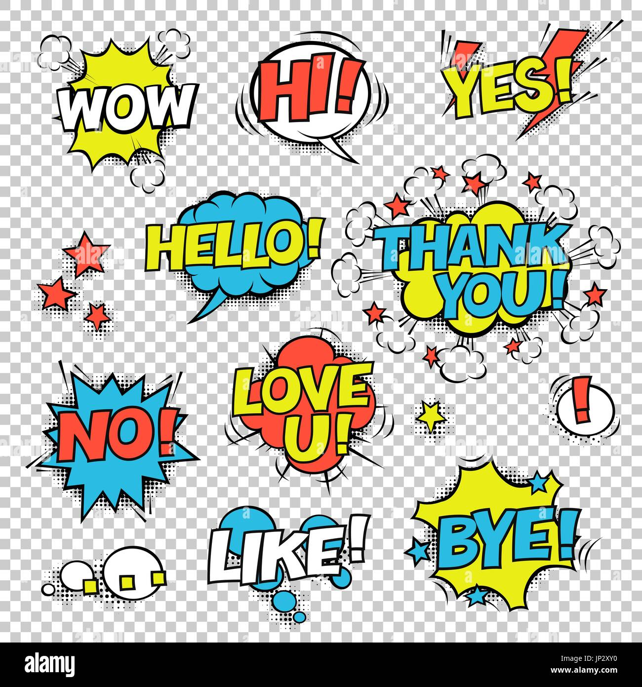 Hi Yes Thank You Hello Wow Love U No Like Bye Comic Speech Bubbles Set Halftones Stars And Other Elements In Separated Layers Colorful Design On Transparent Background 1777747 Iphotos Com