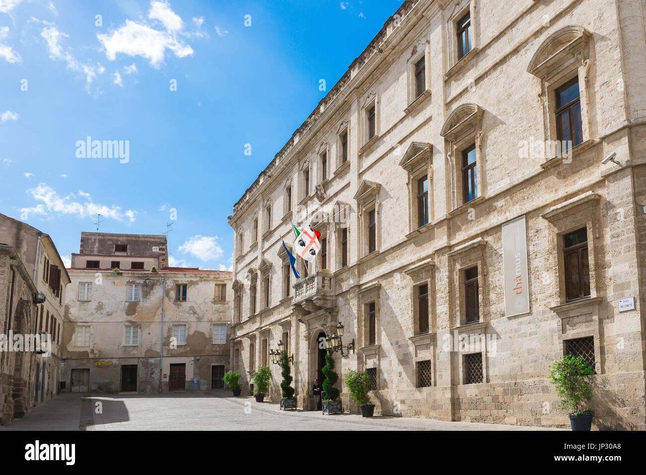 Sassari Sardinia, facade of the Palazzo Ducale in the Piazza del Comune in Sassari, northern Sardinia. - Stock Image