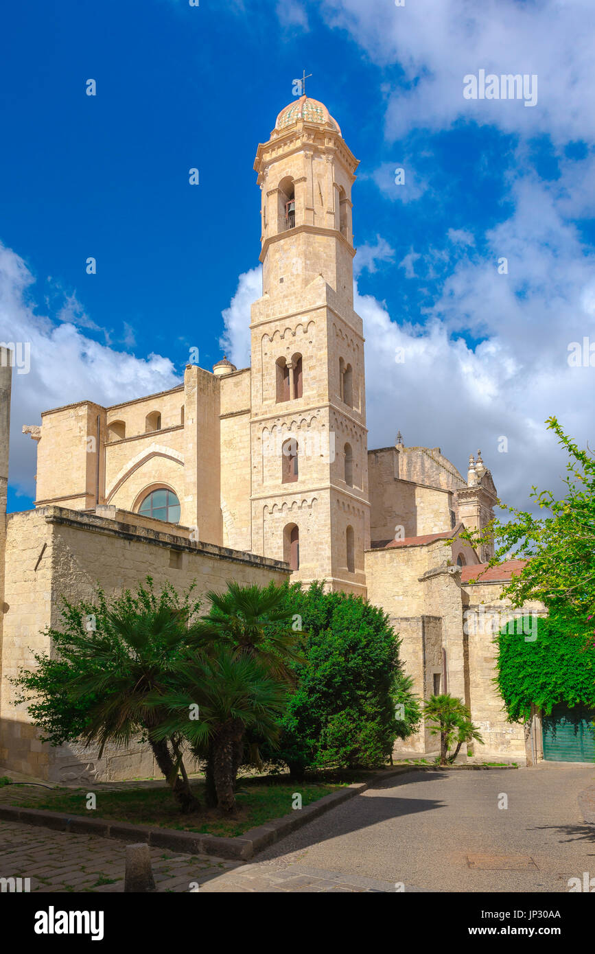 Sassari Sardinia cathedral, view of the east end of the Duomo (Cattedrale di San Nicola) and bell tower in Sassari, Sardinia. - Stock Image