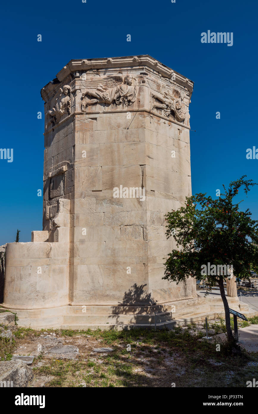 Tower of the Winds, Roman Agora, Athens, Attica, Greece - Stock Image
