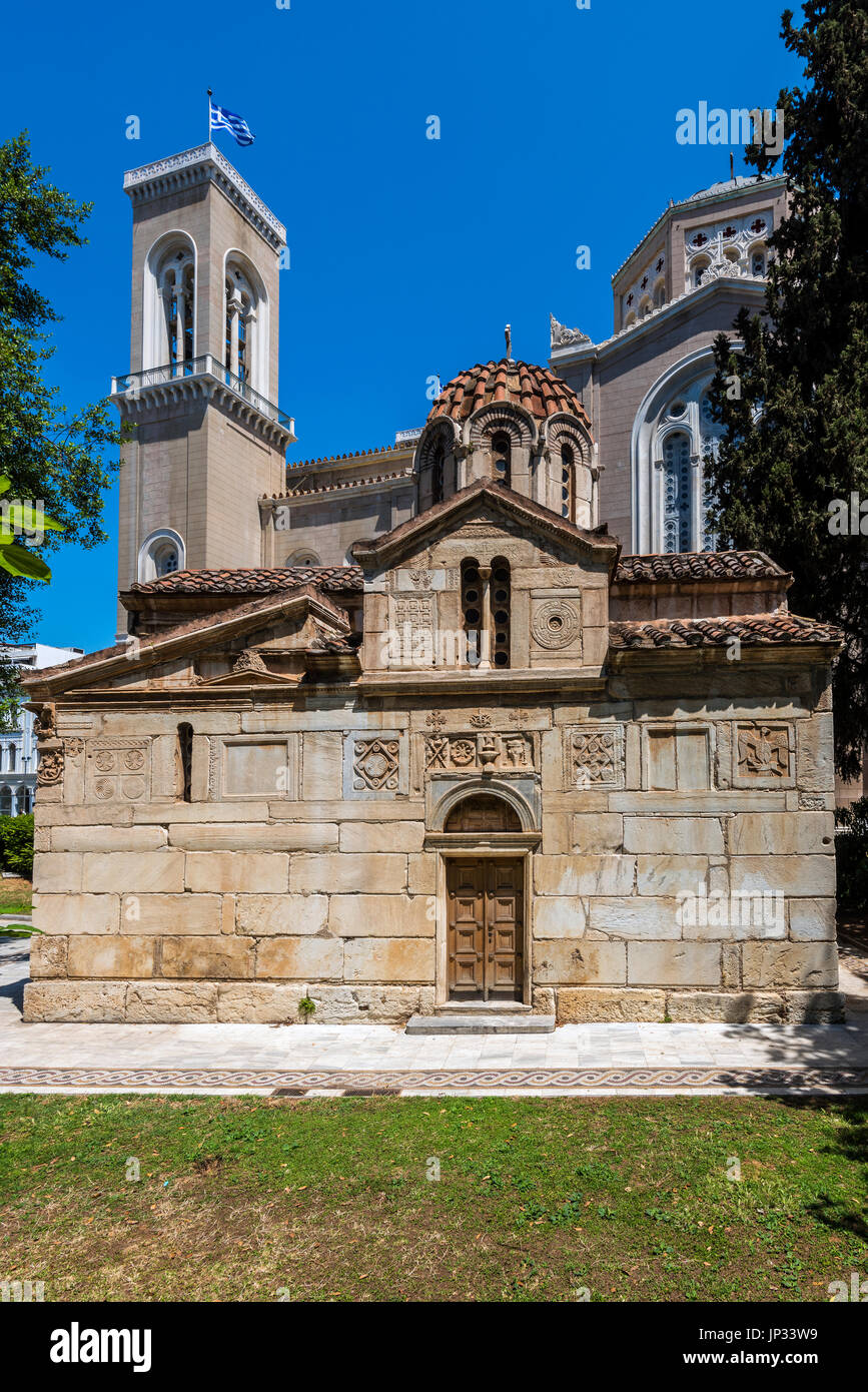 Church of Agios Eleftherios or Little Metropolis, Athens, Attica, Greece - Stock Image