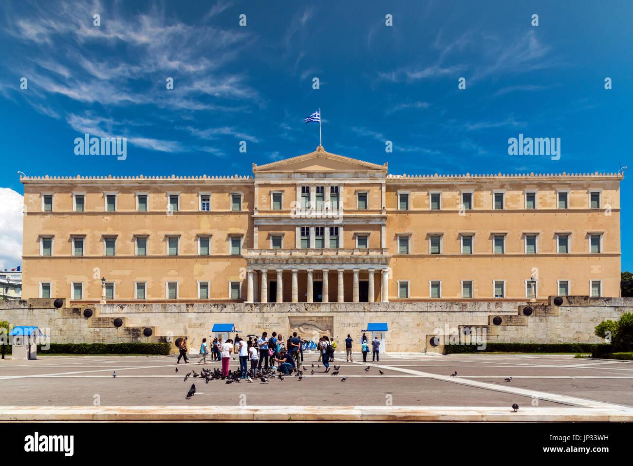 Hellenic Parliament, Athens, Attica, Greece - Stock Image