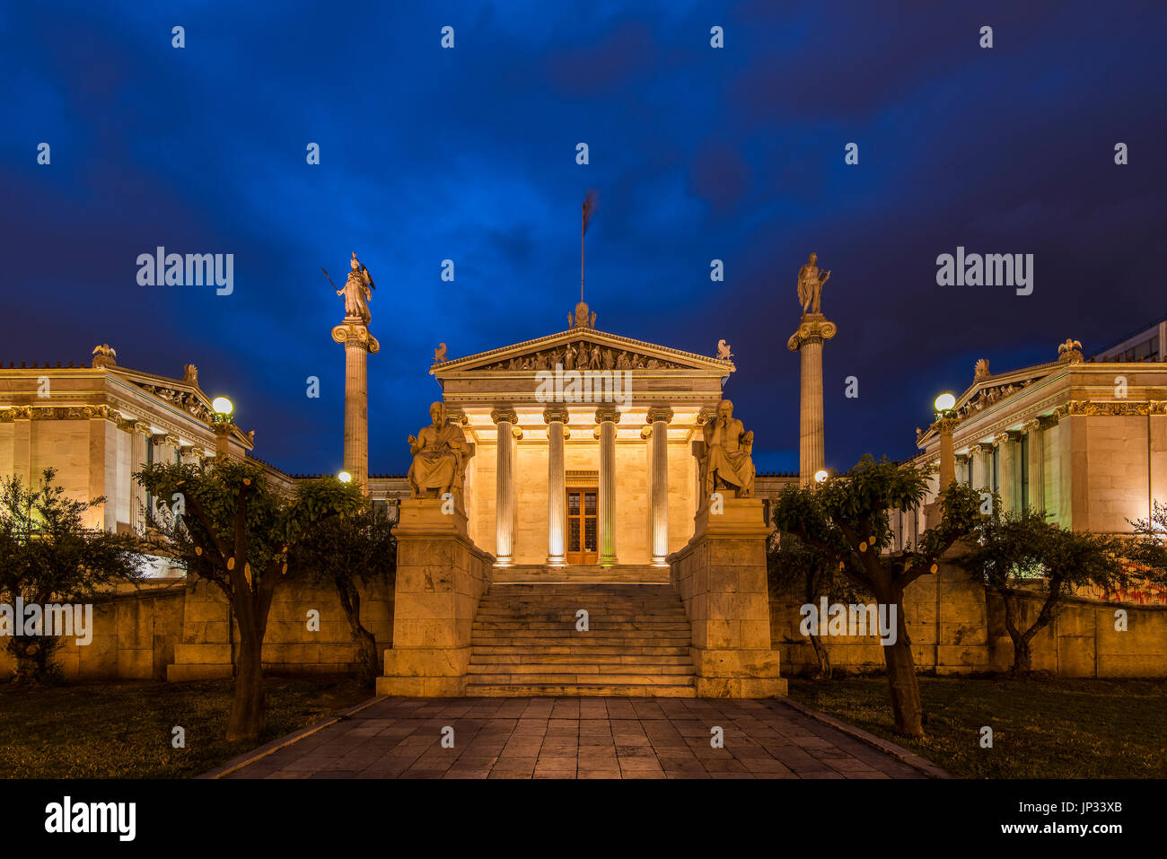 Night view of the main building of the Academy of Athens, Athens, Attica, Greece - Stock Image