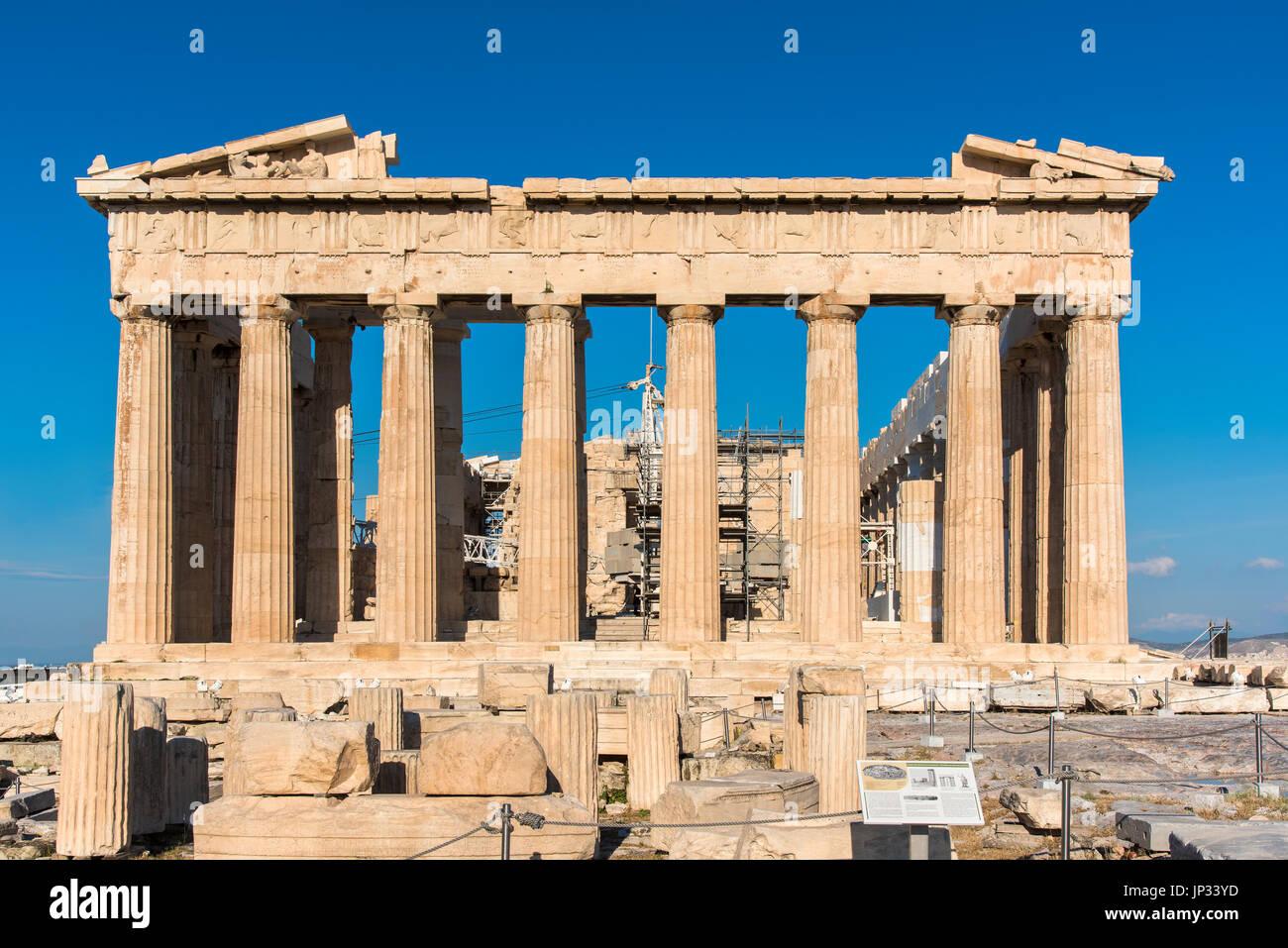 Parthenon, Athenian Acropolis, Athens, Attica, Greece - Stock Image