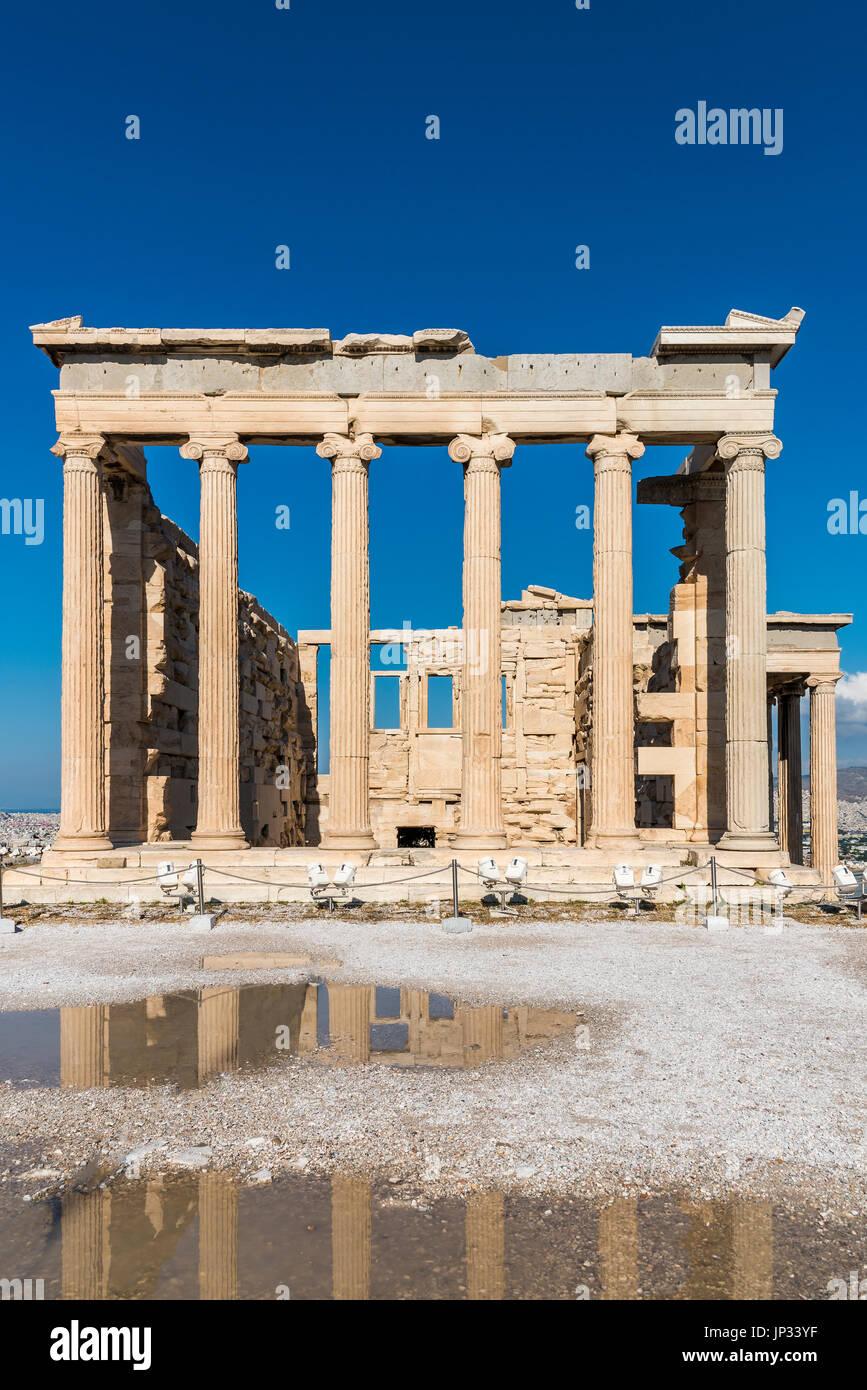 Erechtheion temple, Acropolis, Athens, Attica, Greece - Stock Image