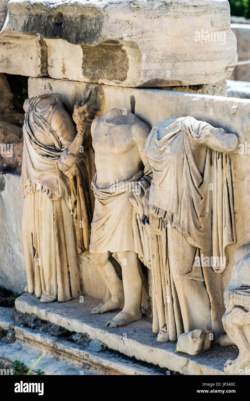 Reliefs at Theatre of Dionysus Eleuthereus, Acropolis, Athens, Attica, Greece - Stock Image