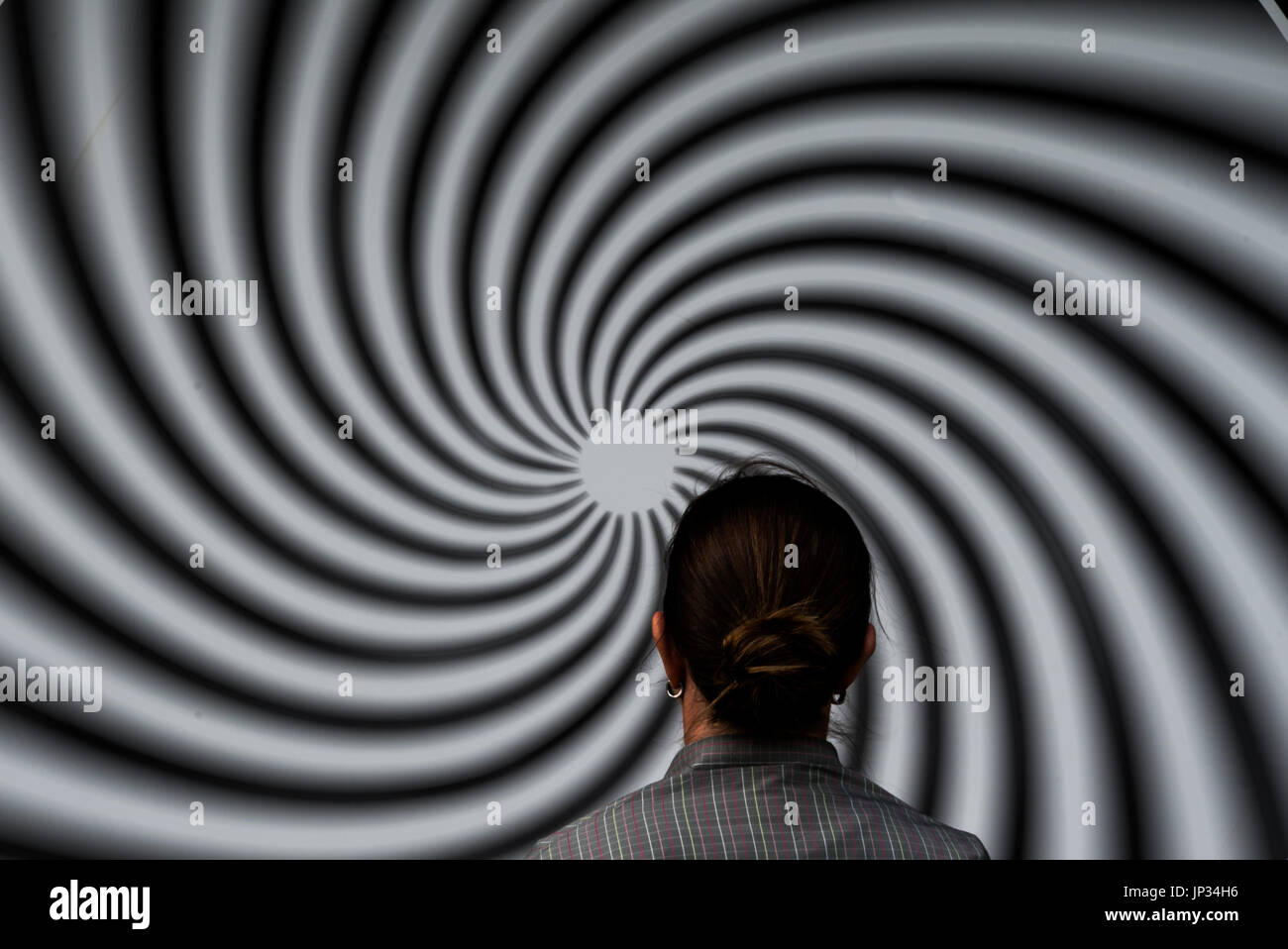 Optical Illusion in a Park of the senses - Stock Image