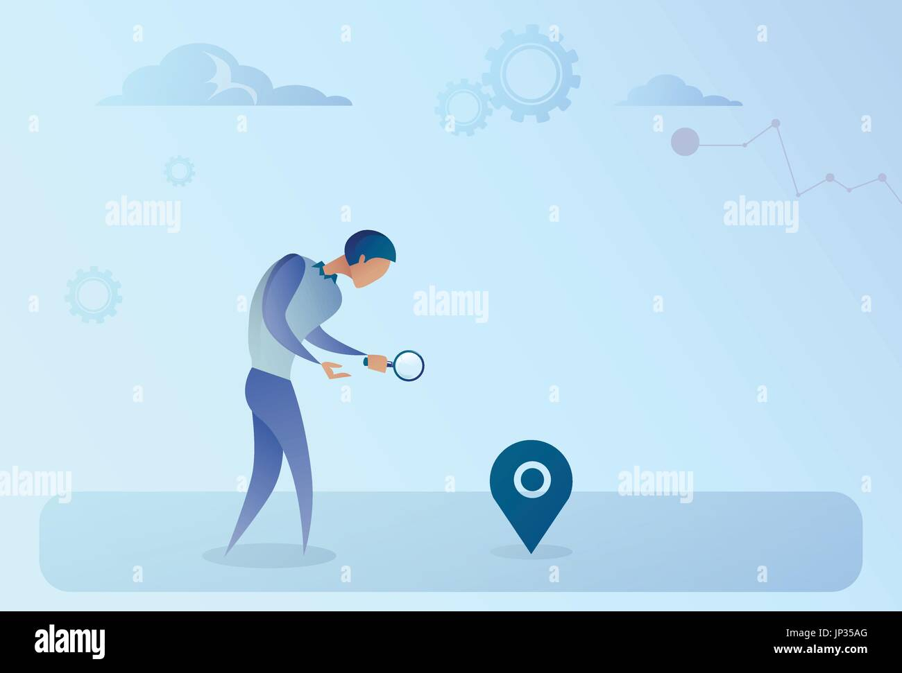 Business Man Searching For Destination On Digital City Map Gps Navigation Concept - Stock Vector