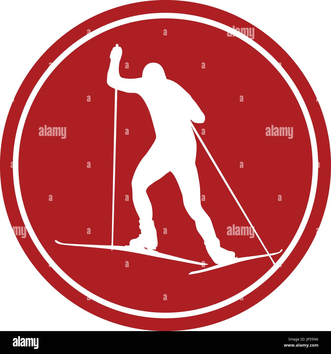sports sign icon back male athlete skier - Stock Vector