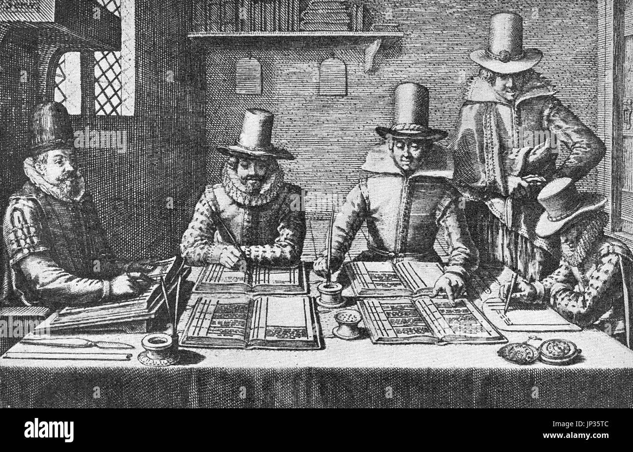 17th century English accountants in Elizabethan dress - Stock Image
