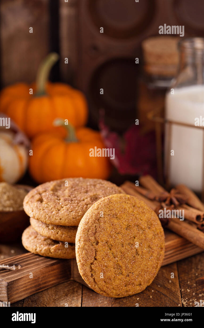 Fall snickerdoodle cookies with pumpkin and cinnamon Stock Photo
