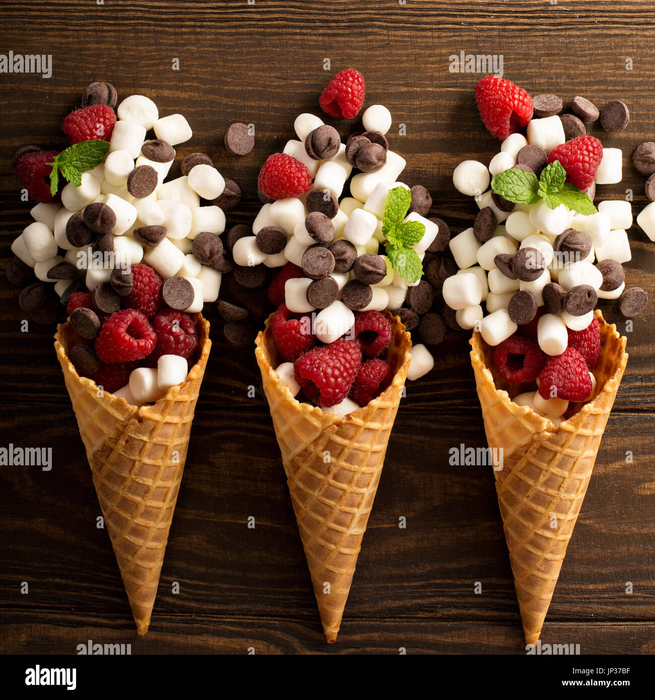 Ingrediens for smore's dessert in a waffle cone Stock Photo