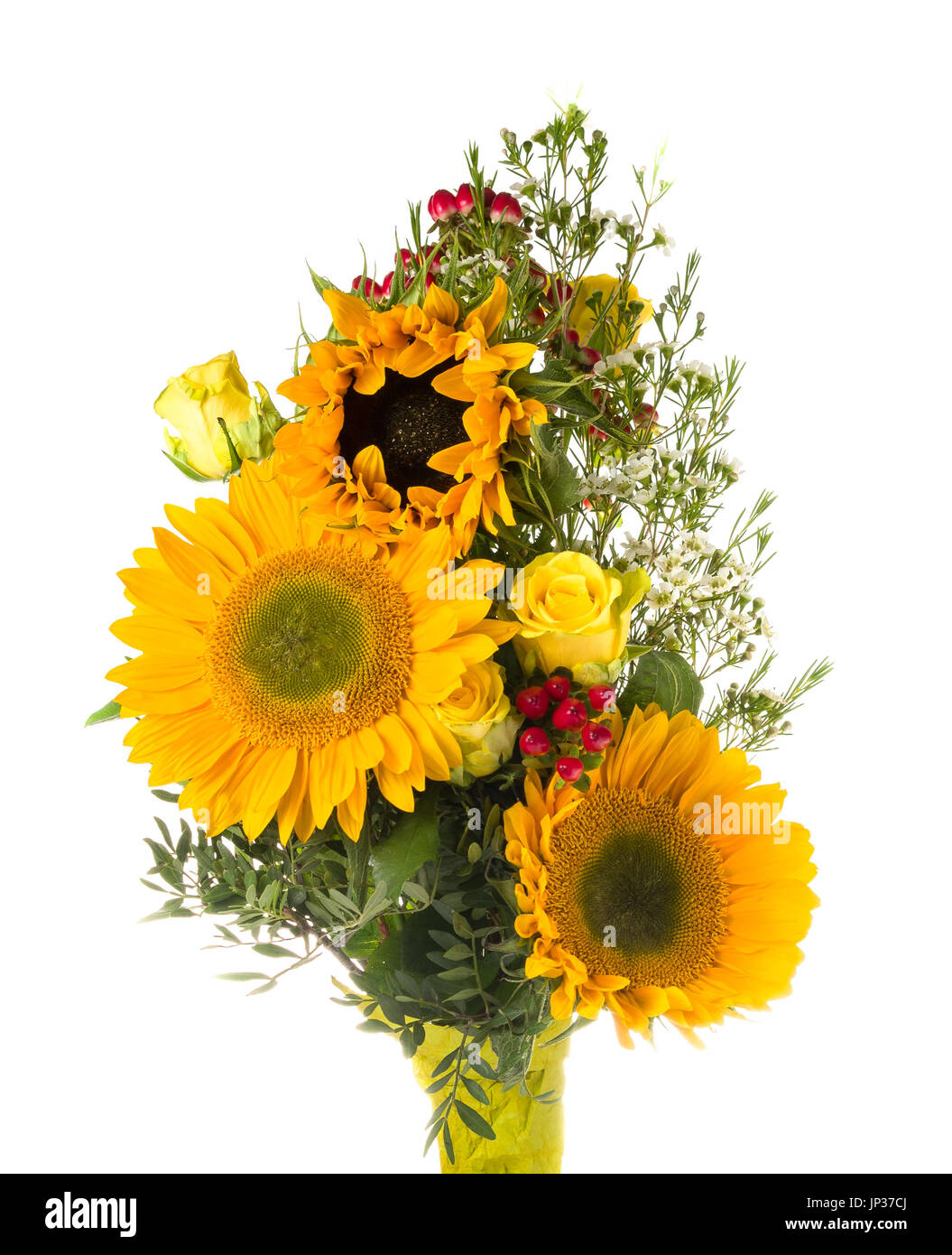 Bouquet With Sunflowers And Roses On White Background
