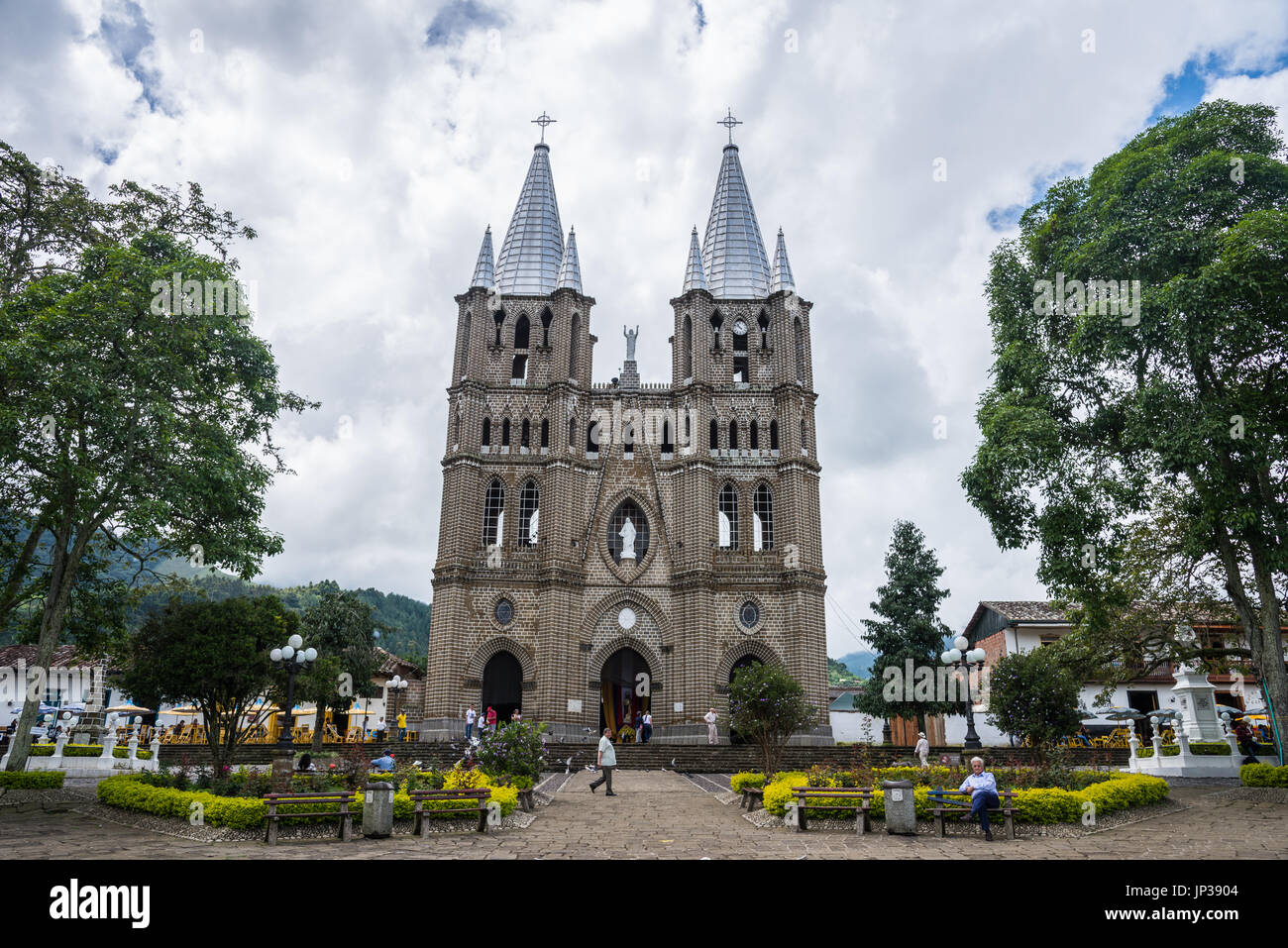 Church at historic town center of small town Jardin, Colombia, South America - Stock Image