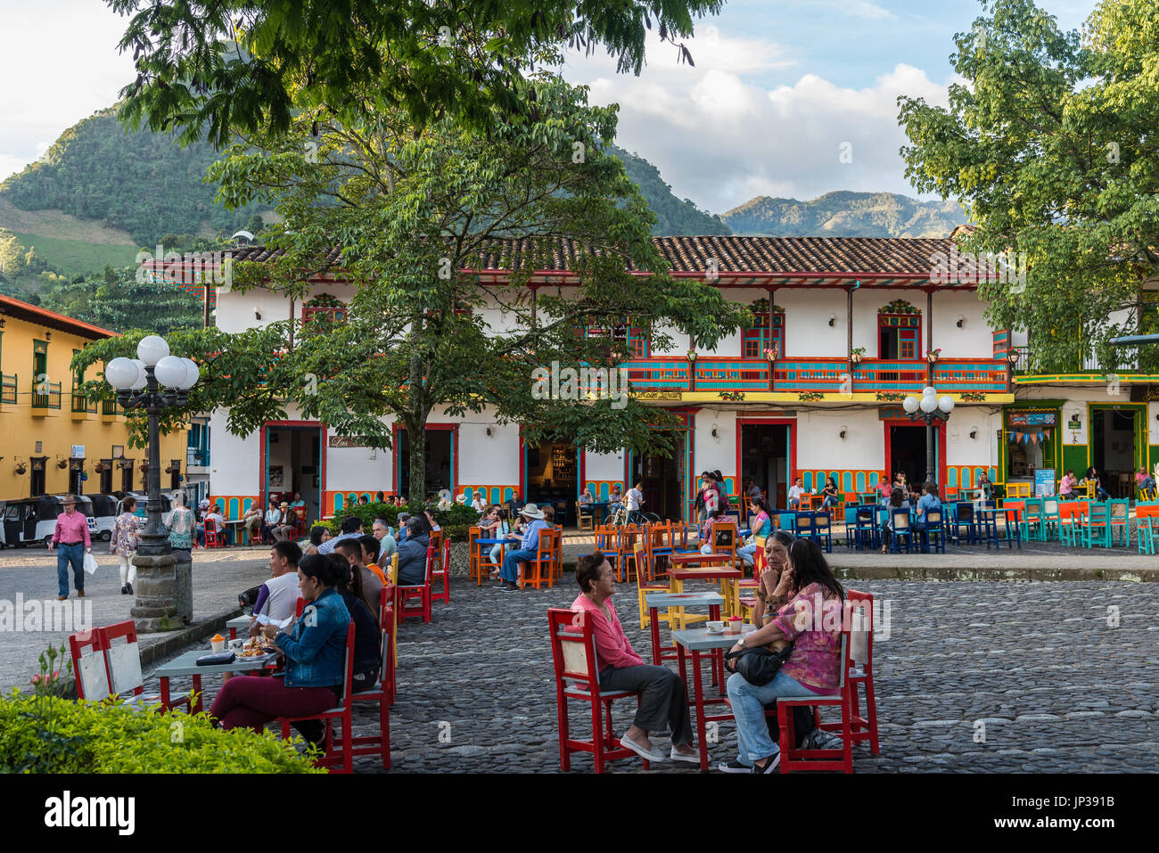 Locals And Visitors Enjoy The Day In Historic Town Center Jardin