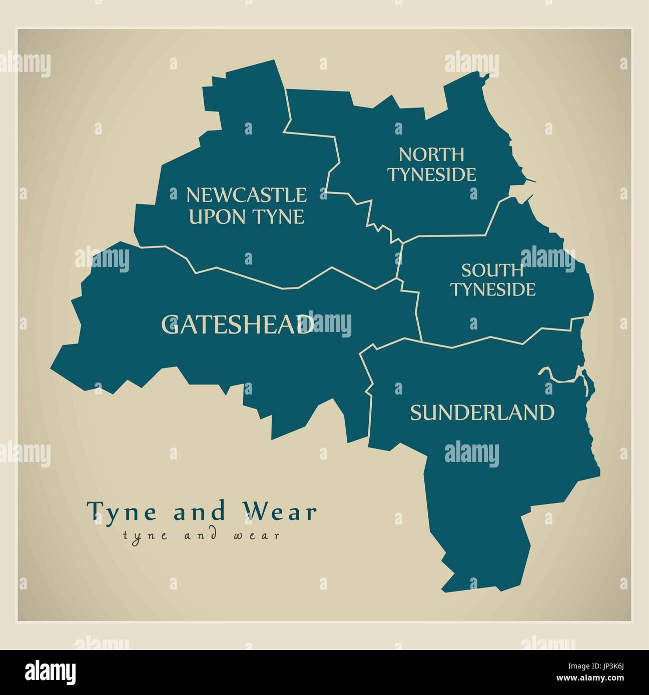 Newcastle Upon Tyne Map Stock Photos Newcastle Upon Tyne Map Stock