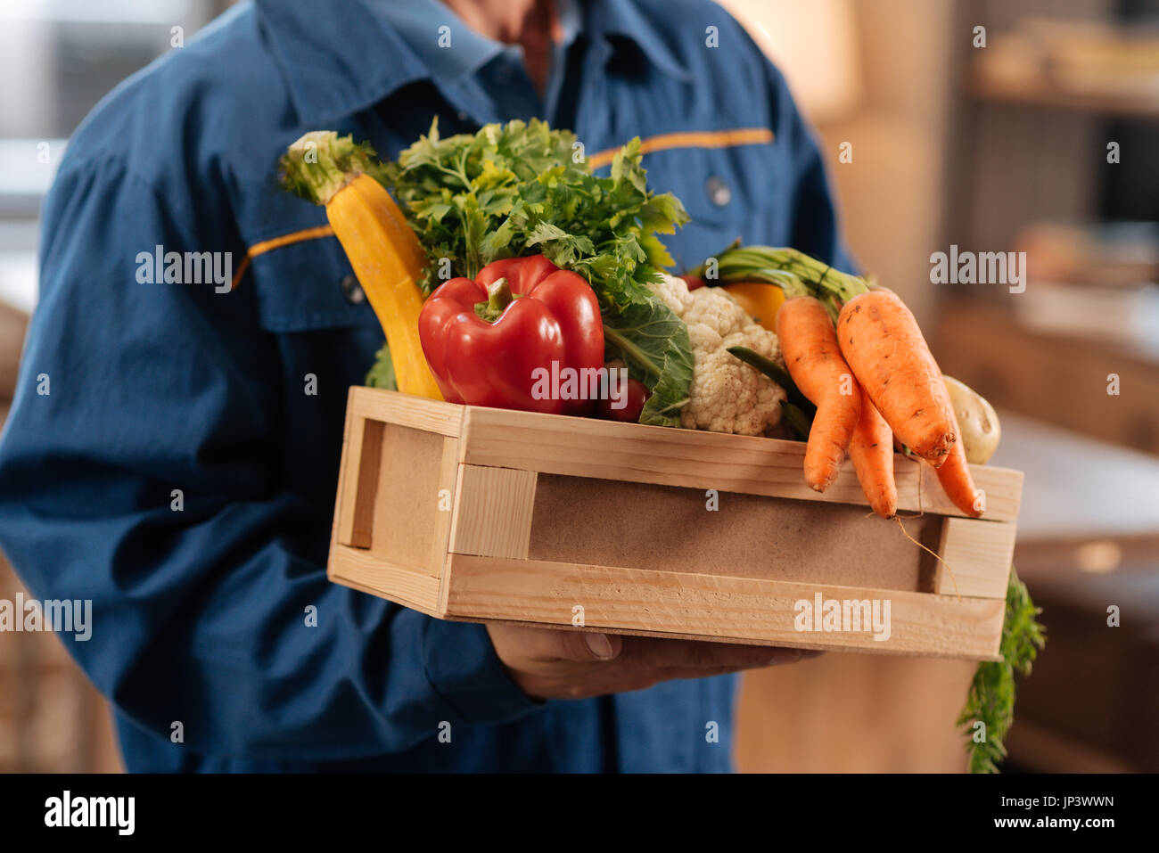 Neat nice courier holding a box full of healthy foods - Stock Image