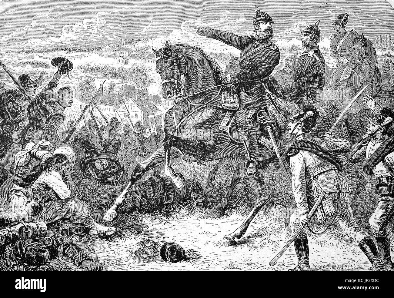 The Crown Prince in the Battle of Woerth on 6 August 1870, also known as the Battle of Reichshoffen or as the Battle Stock Photo
