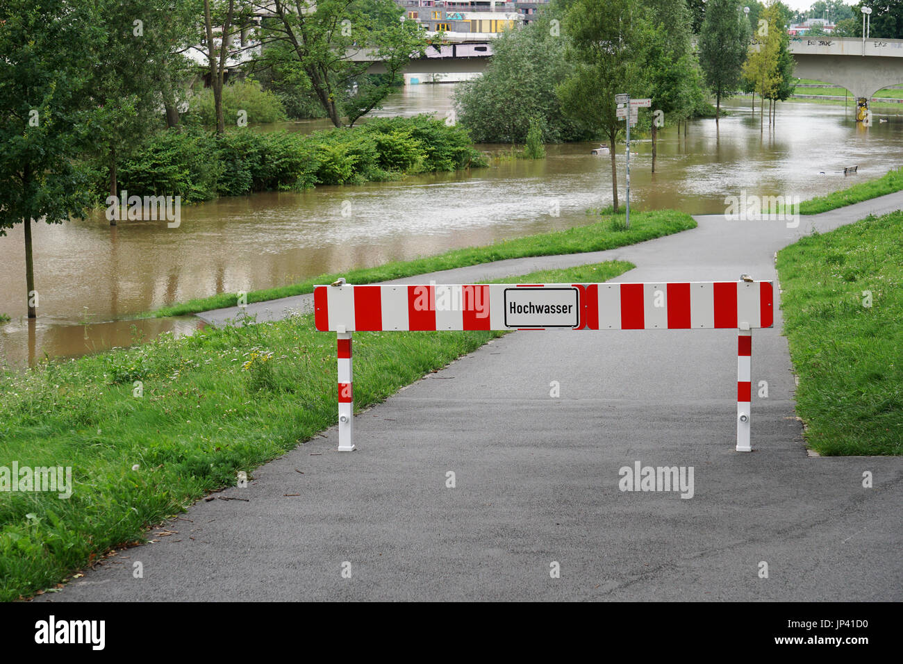 flooding flood high water in Hannover Germany - Stock Image
