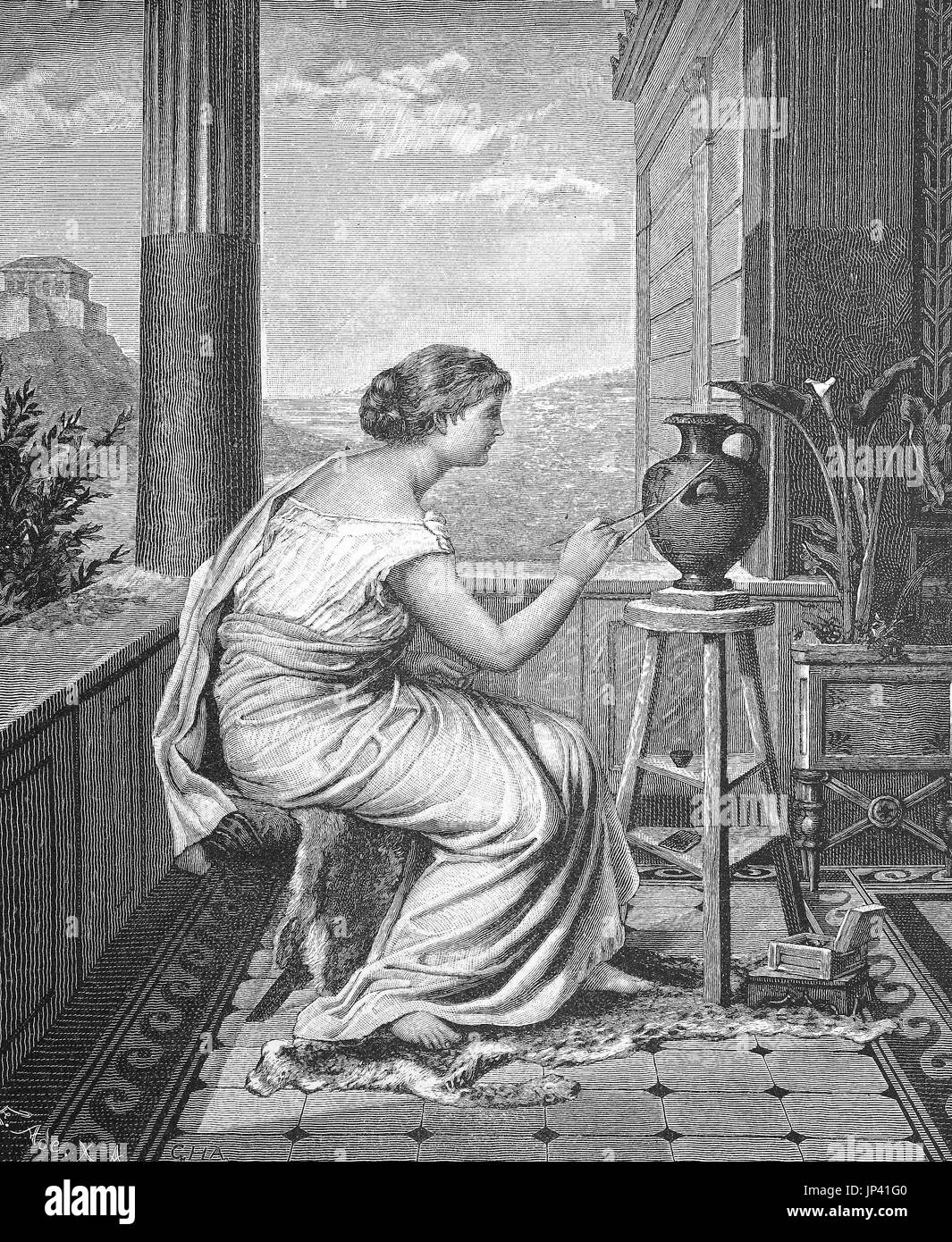 Painter, artist, young Greek woman painted a vase, digital improved reproduction of a woodcut publication from the year 1888 - Stock Image