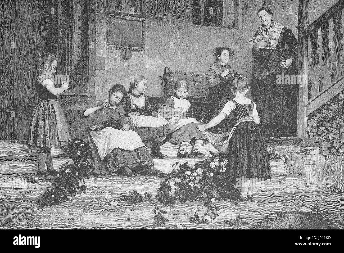 Preparing for the feast, children tying garlands of flowers, floral decoration, Germany, digital improved reproduction Stock Photo