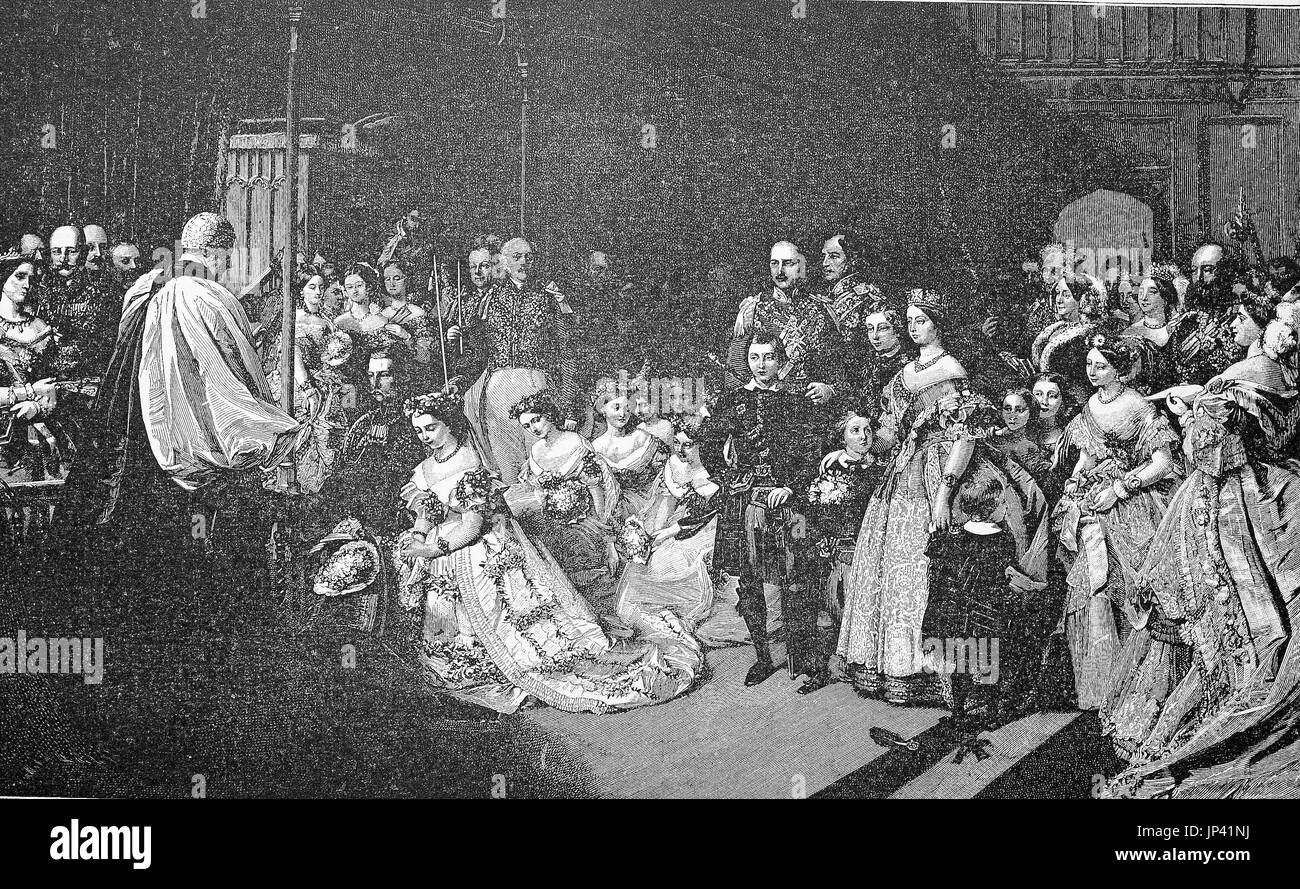 The marriage of Prince William of Prussia with the Princess Victoria of England in the chapel of St. James's Palace at London on January 25, 1858, England, digital improved reproduction of a woodcut publication from the year 1888 Stock Photo