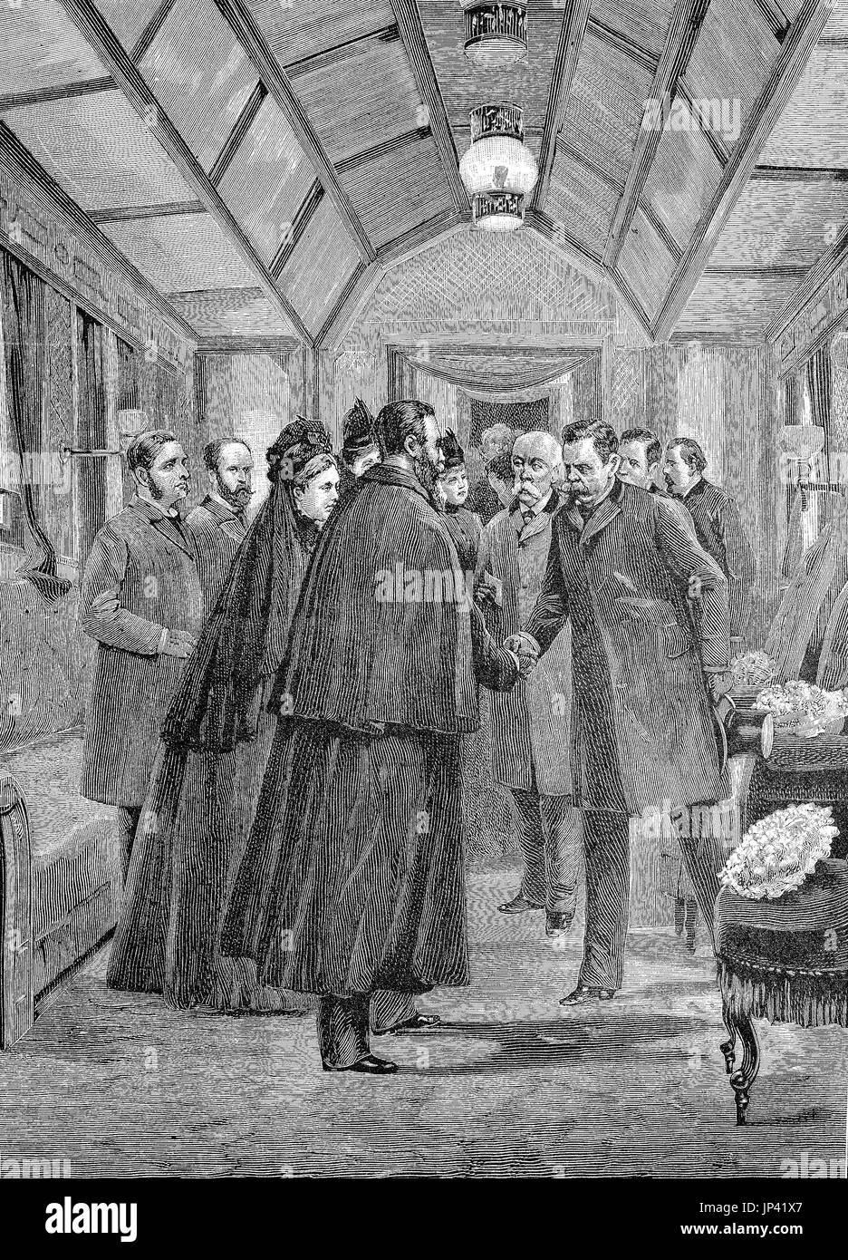 King Humbert, accompanied by Crispi, welcomes the Emperor Frederick in San Pier d Arena, on March 10, 1888, now Sampierdarena, Genoa, Italy, digital improved reproduction of a woodcut publication from the year 1888 - Stock Image