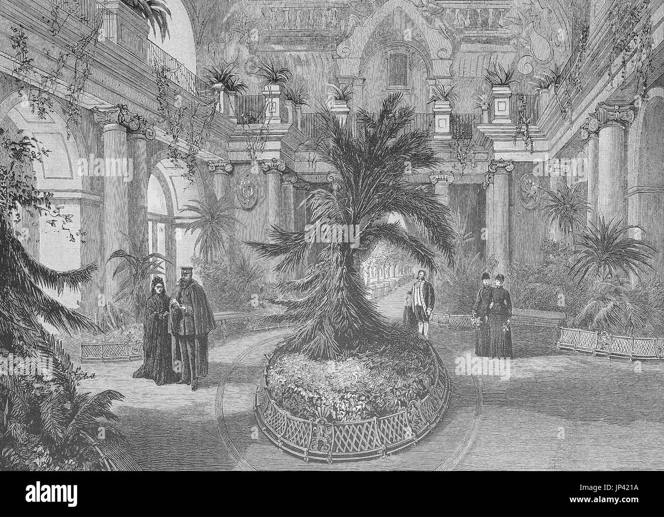 The emperor Frederick accompanied by the empress are in the orangery of Charlottenburg, Germany, digital improved reproduction of a woodcut publication from the year 1888 - Stock Image