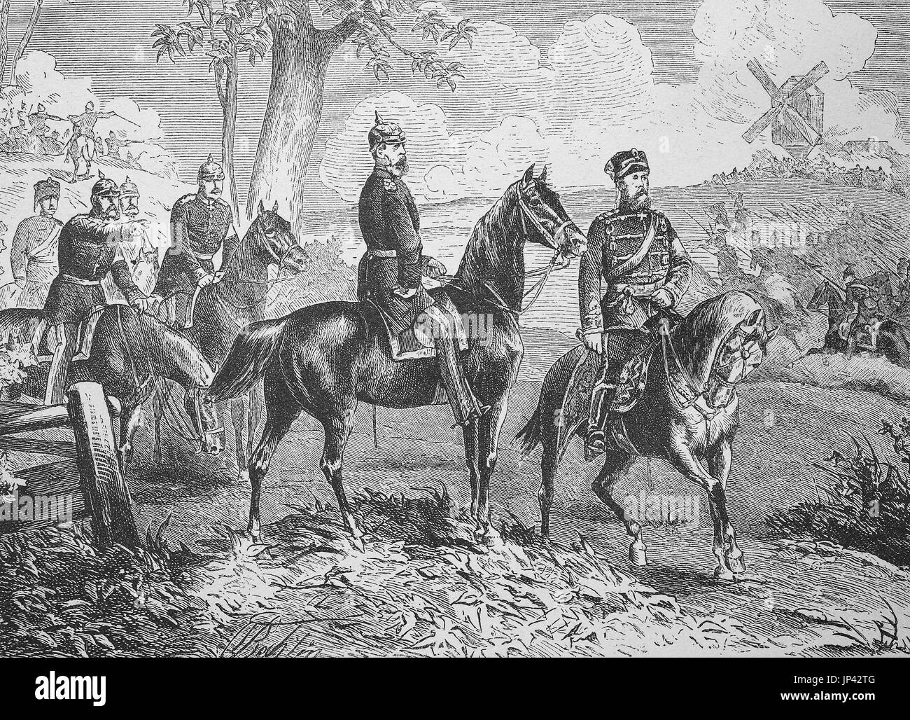 Crown Prince Frederick William and Prince Frederick Charles as referees at the Imperial maneuvers of Berlin in autumn Stock Photo
