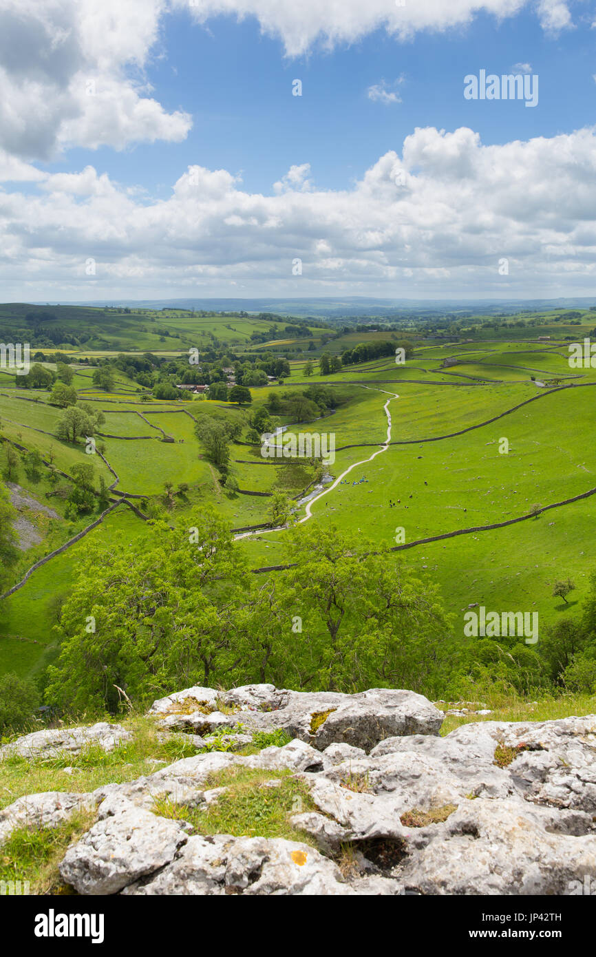 Malham Cove view from top of the visitor attraction in Yorkshire Dales National Park - Stock Image