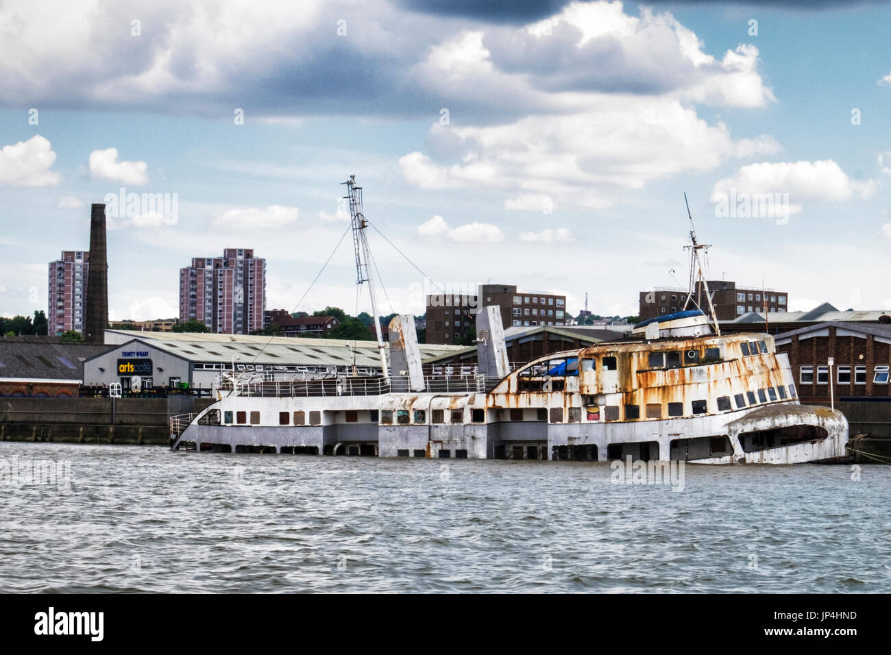 London,Woolwich.The MV Royal Iris Ferry which carried people across the River Mersey in Liverpool for years sinks,Thames river sinking vessel,Rusty ab - Stock Image