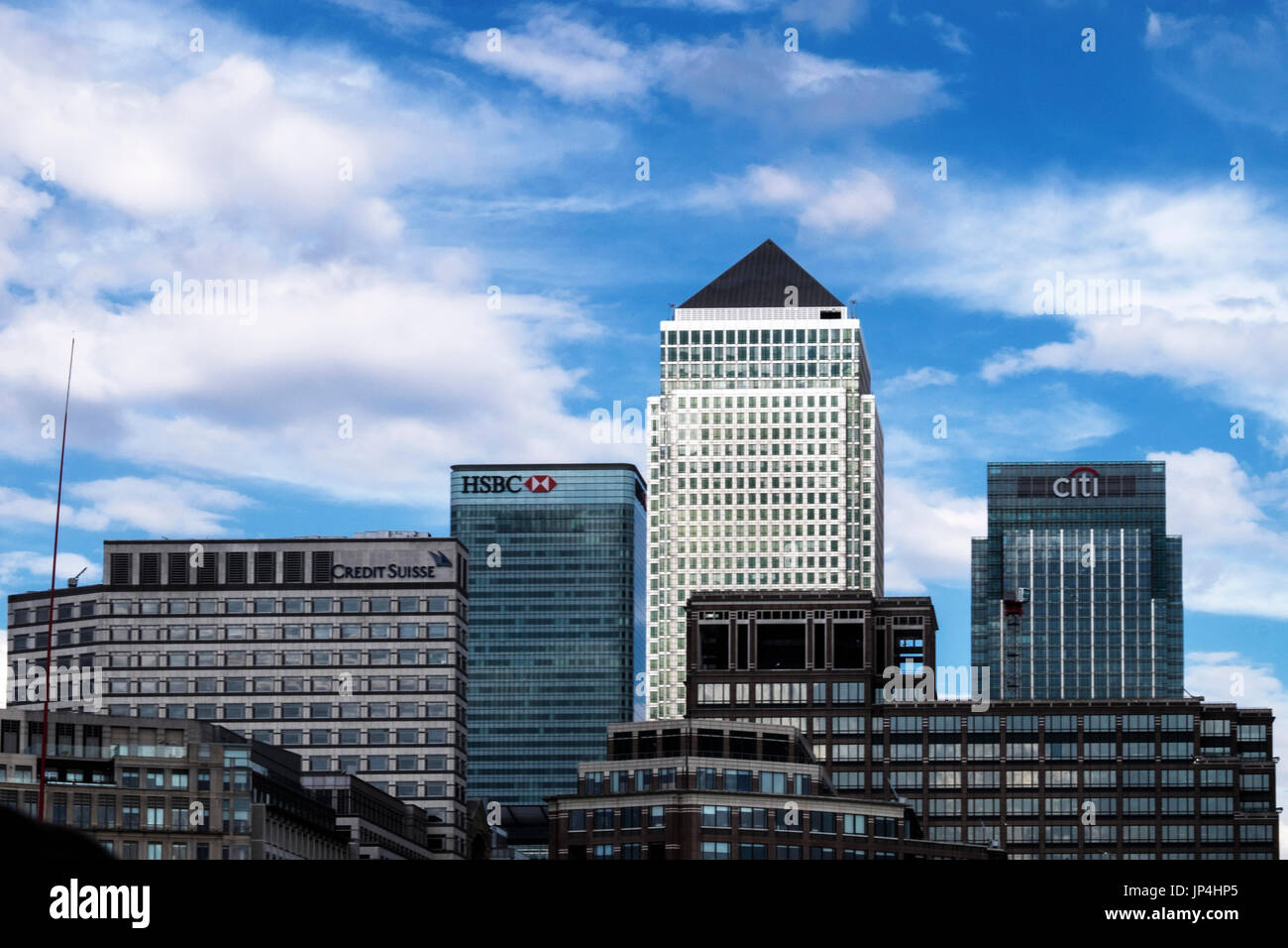 London,Tower Hamlets,Isle of Dogs,Canary Wharf.Modern skyscraper buildings with HSBC,Citi Bank and Credit Suisse Logos.Financial & banking District - Stock Image