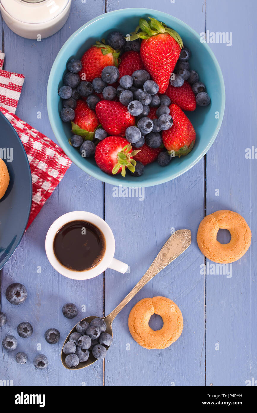 Breakfast with wholegrain cereals. Stock Photo