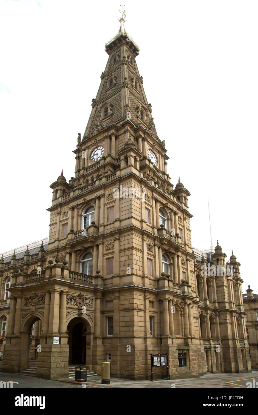 Halifax Town Hall in Halifax, England.It was designed by Charles Barry, the architect of the Houses of Parliament. - Stock Image