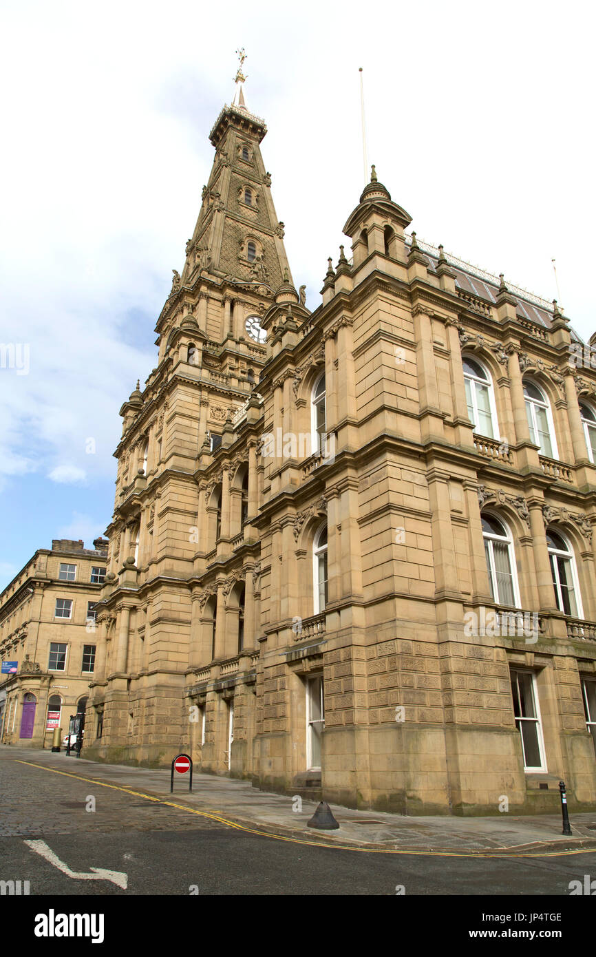 Facade of Halifax Town Hall in Halifax, England. The Grade-II listed building was designed by Charles Barry, the architect of the Houses of Parliament - Stock Image