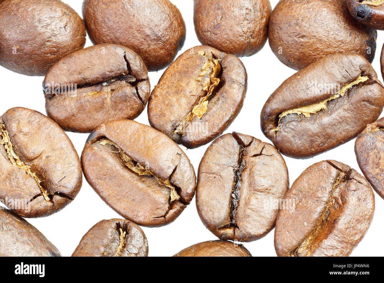 Coffee beans under microscope - extreme close up of coffee beans - Stock Image