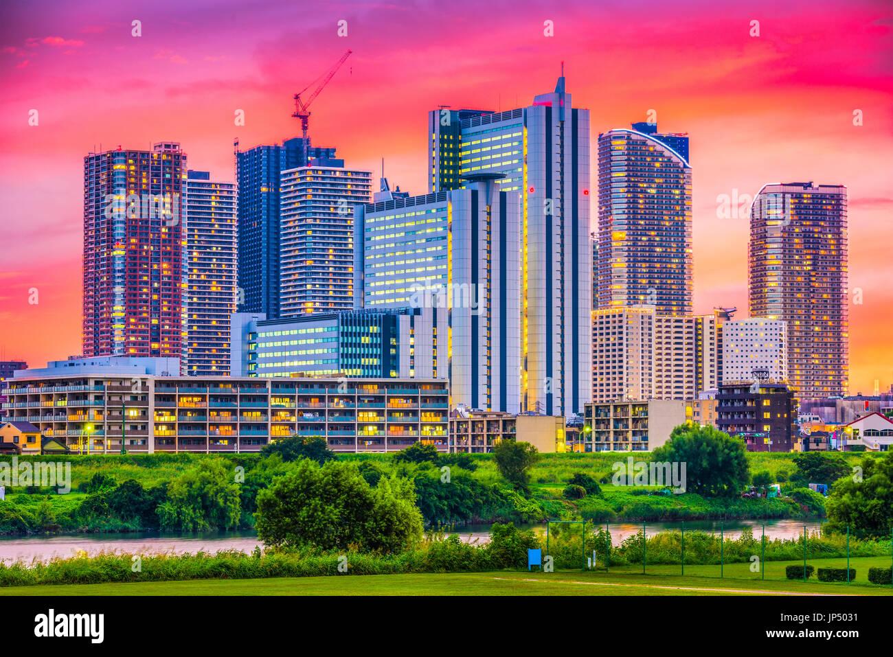 Kawasaki, Japan downtown city skyline. - Stock Image
