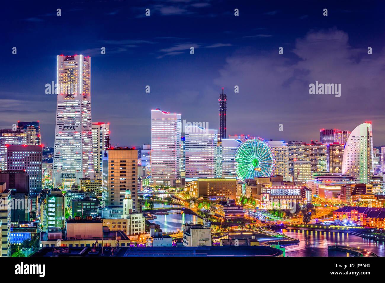 Yokohama, Japan skyline at night. - Stock Image