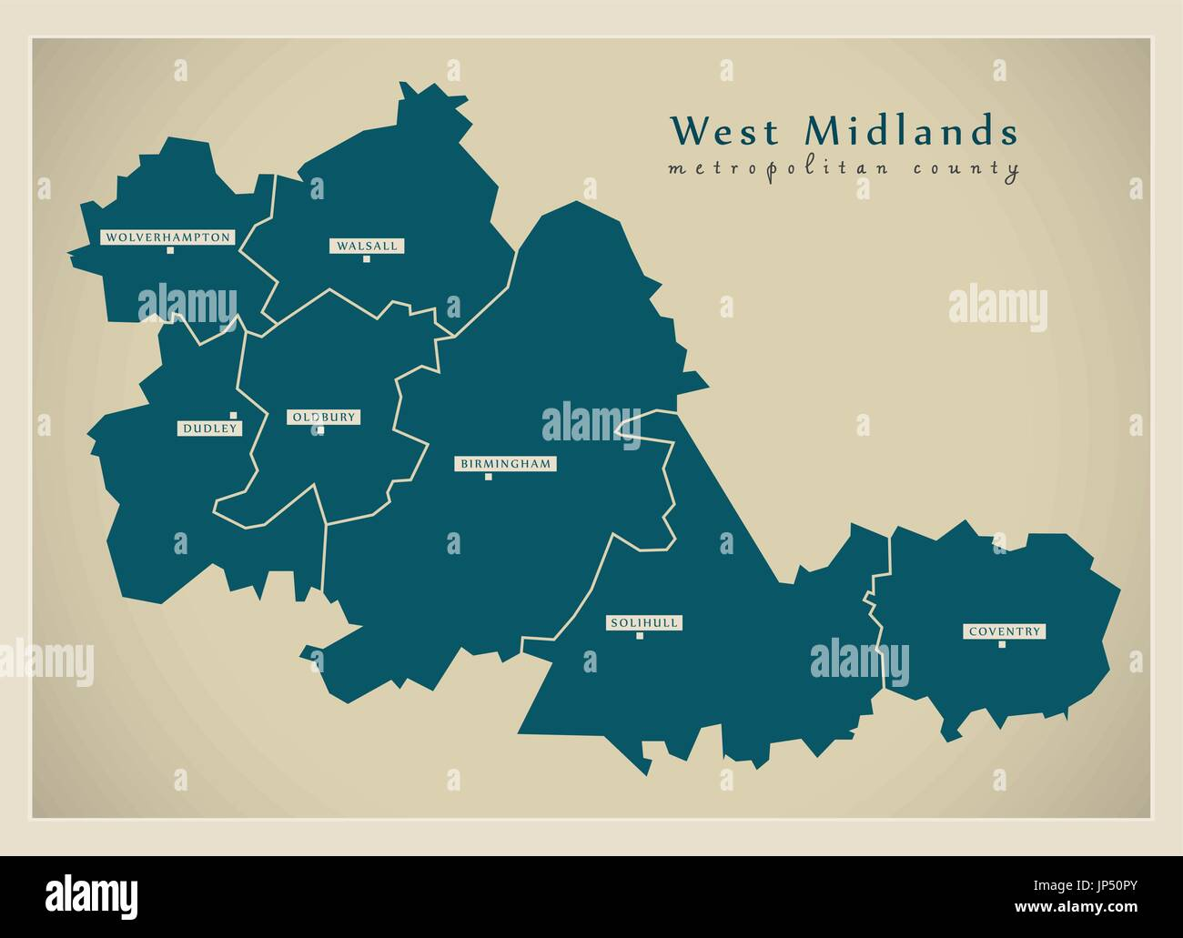 Map Of England Districts.Modern Map West Midlands Metropolitan County With Cities And Stock
