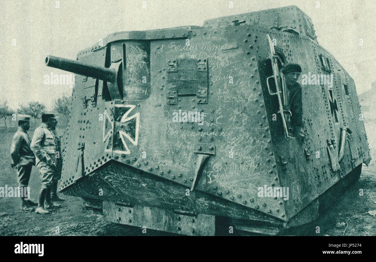Captured German Land Battleship of 1918 - Stock Image