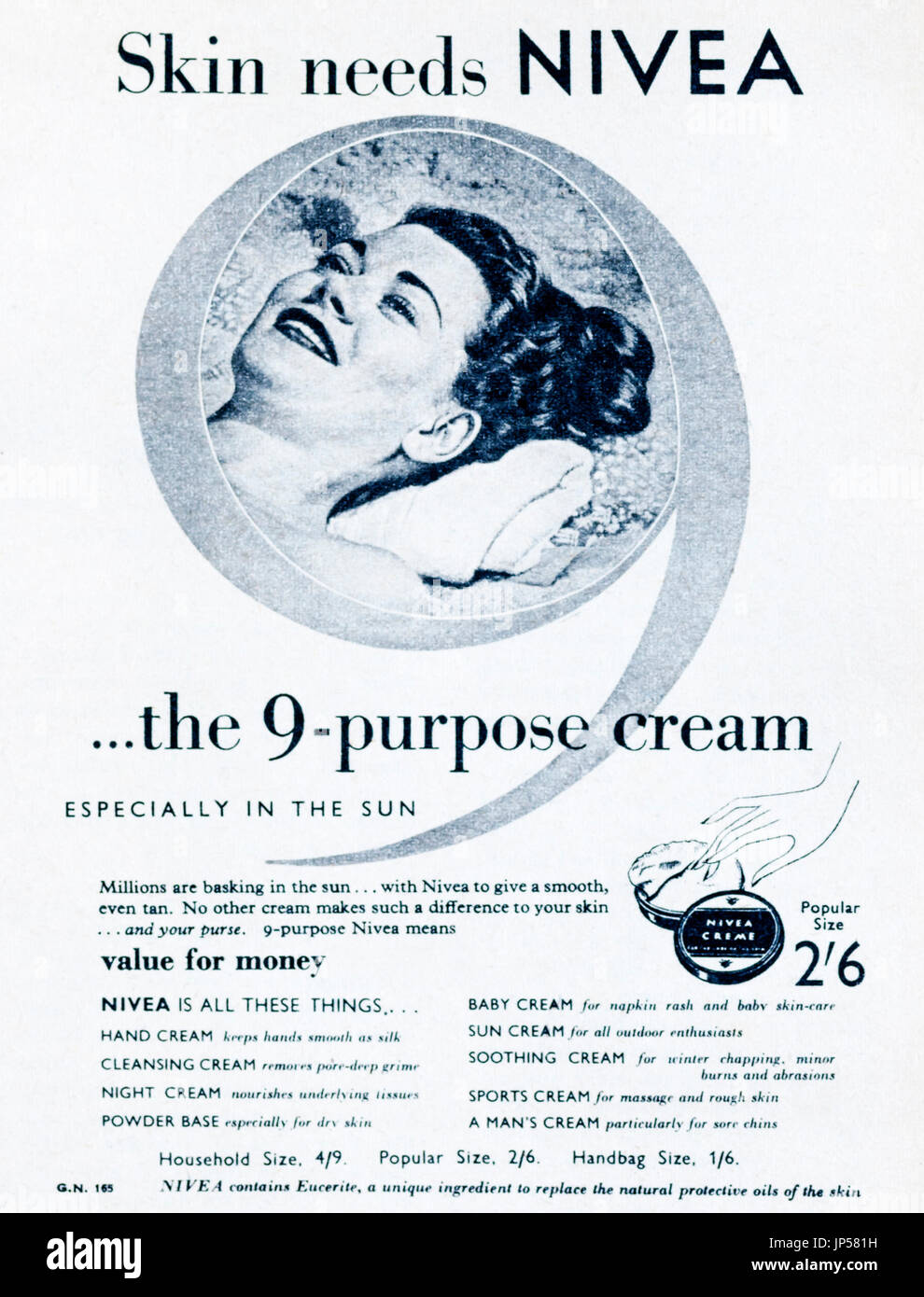 1950s magazine advertisement advertising Nivea face cream - Stock Image