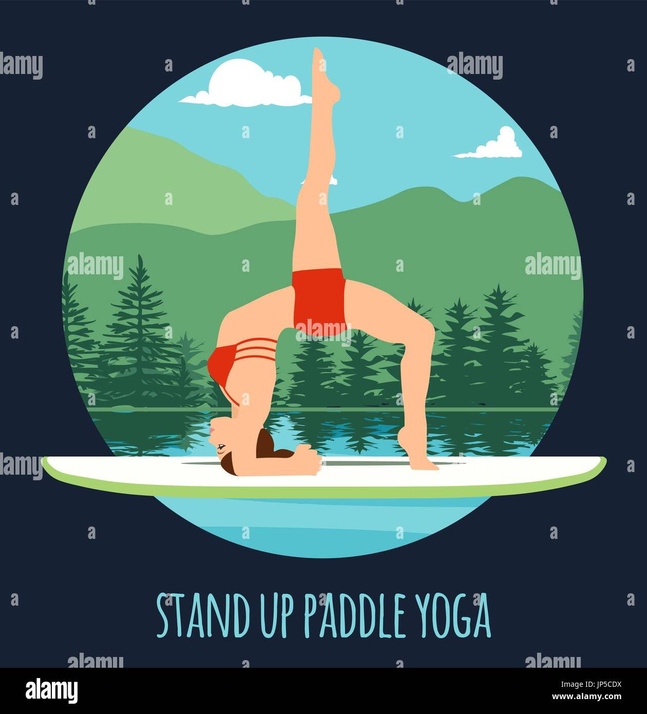 Woman doing Stand Up Paddling Yoga on Paddle Board on Water at lake Mountain landscape Stand Up Paddle Yoga Workout - Stock Vector