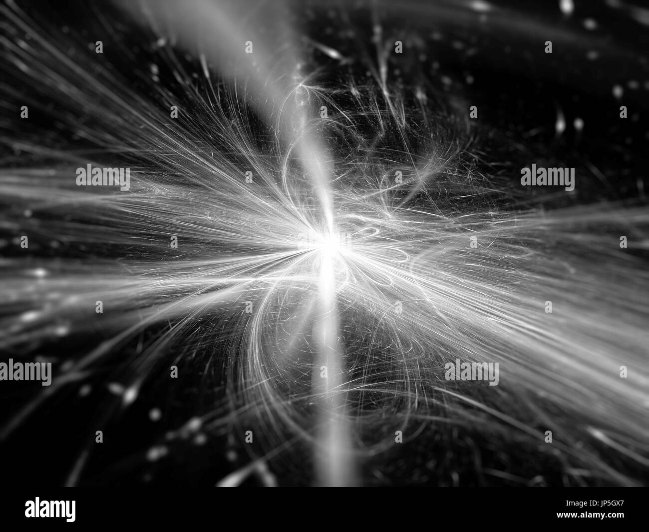 Blue glow rays in space, abstract background, computer generated 3D rendering, black and white - Stock Image