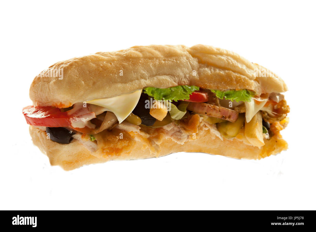 Mighty sub hoagie sandwich with fries meat and veggies - Stock Image