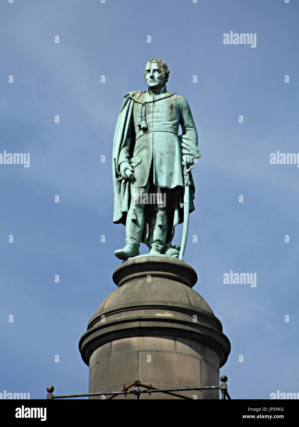 Statue of the Duke of Wellington, supposedly cast from cannon captured at the Battle of Waterloo, 18 June 1815. Located at Wm Brown Street, Liverpool. - Stock Image