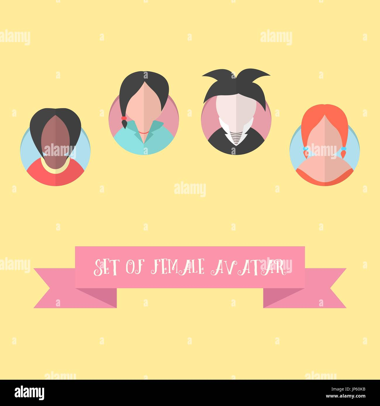 women avatar set with pink ribbon - Stock Vector