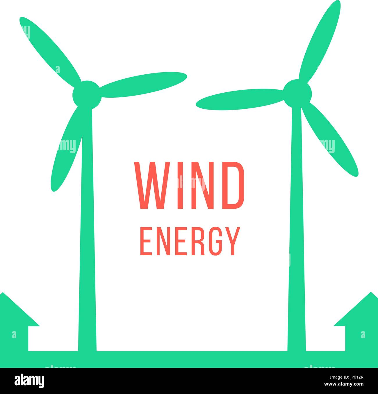 green energy with two wind motors - Stock Vector